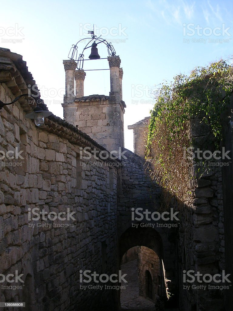 Bell tower in Lacoste stock photo