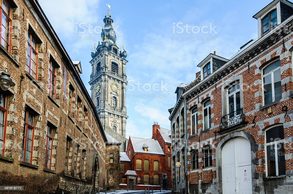 Bell tower in Mons, Belgium, the Capital of Culture stock photo
