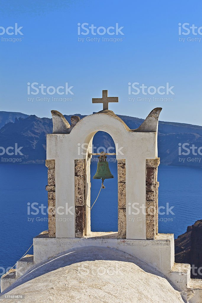 bell tower in Santorini, Greece royalty-free stock photo