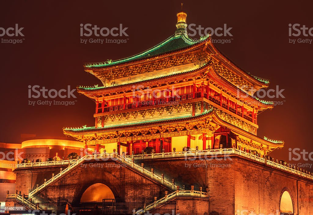 Bell tower in the ancient city Xian, China stock photo