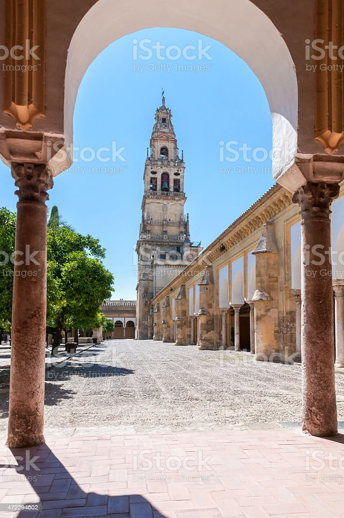 Bell tower in The Great Mosque of Cordoba stock photo