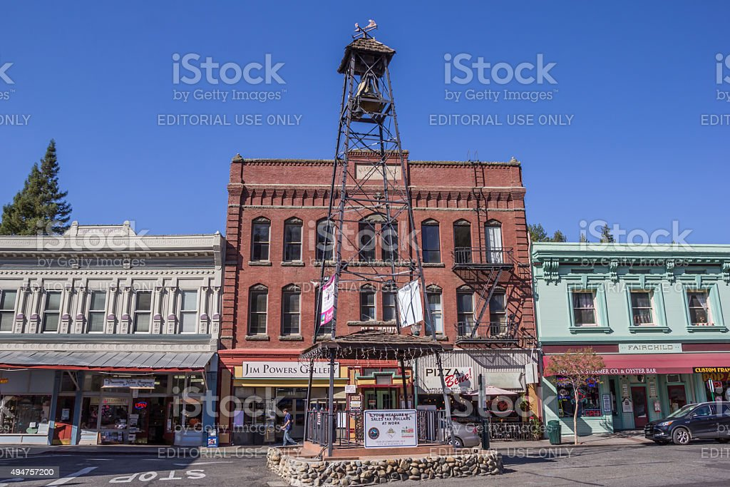 Bell tower in the historic center of Placerville stock photo