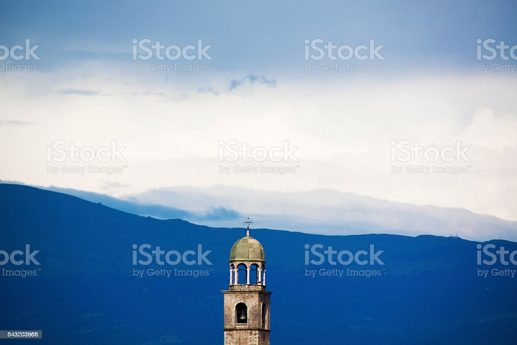 bell tower mountain stock photo