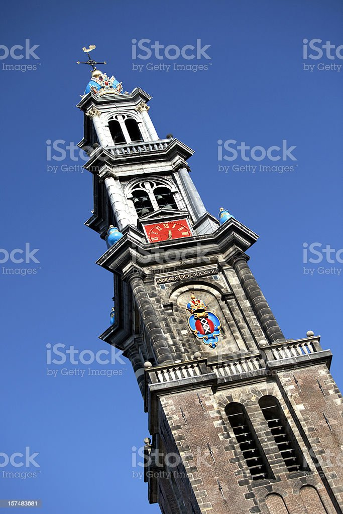 Bell Tower of Amsterdam Church royalty-free stock photo