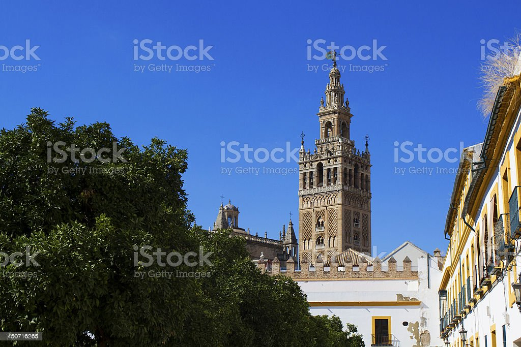 Bell tower of Catedral Santa Maria de la Sede, Seville stock photo
