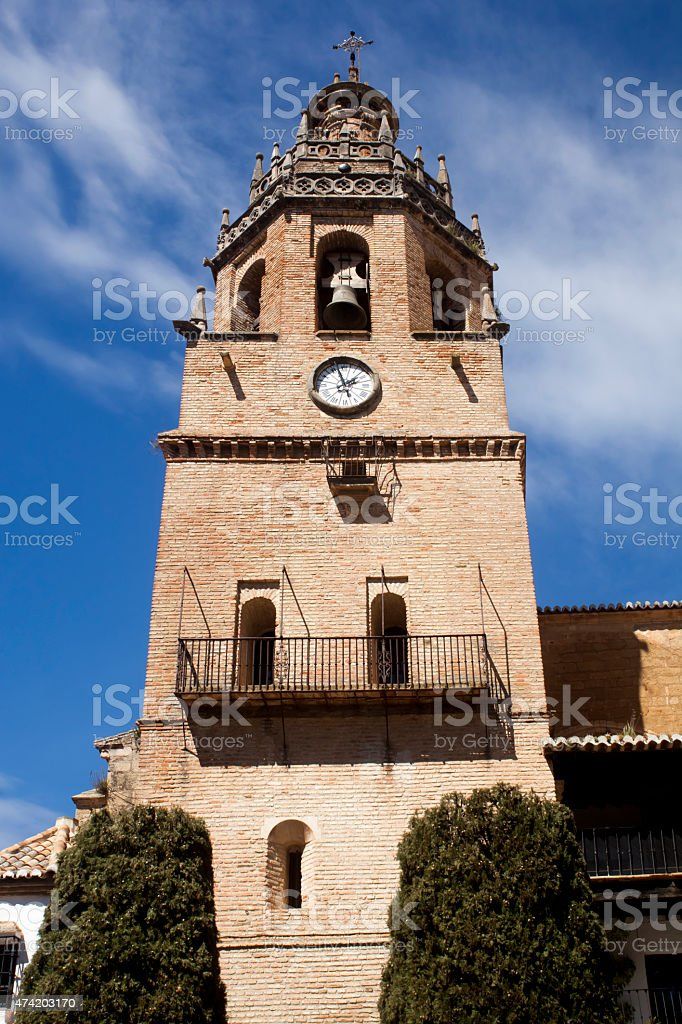 Bell tower of Church of Santa Maria La Mayor, Ronda, Spain. stock photo