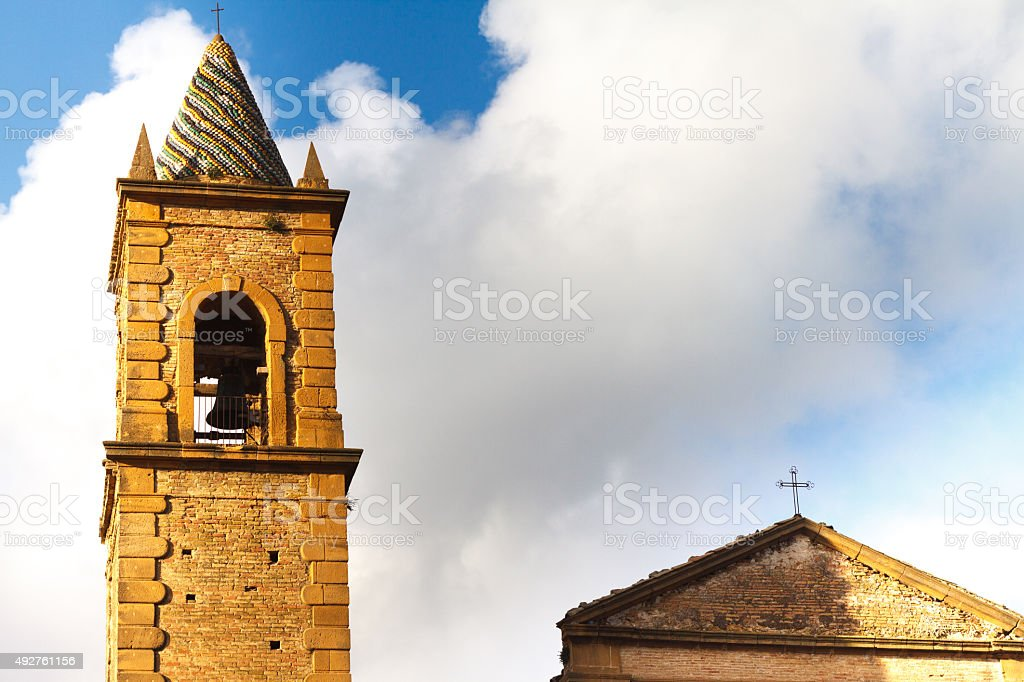 Bell Tower of Church of St Francis, Piazza Armerina, Sicily stock photo
