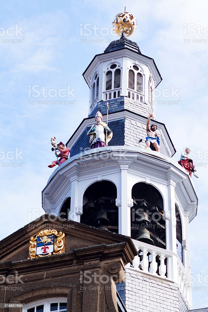Bell tower of city hall Roermond stock photo