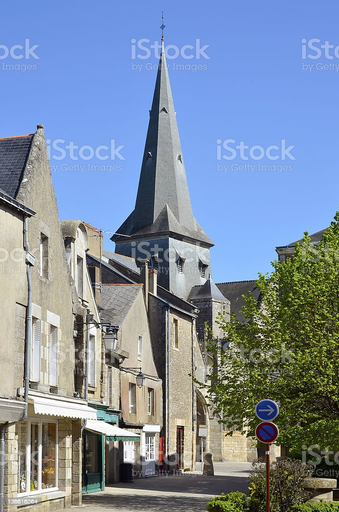 Bell tower of Guérande in France stock photo