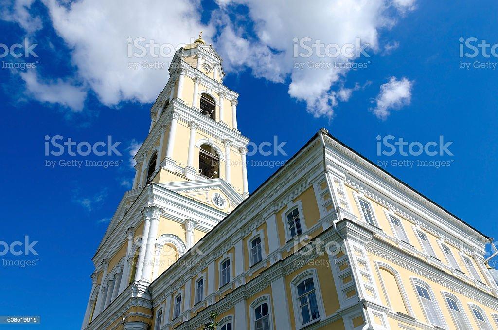 Bell tower of Holy Trinity Seraphim-Diveevo monastery, Russia stock photo