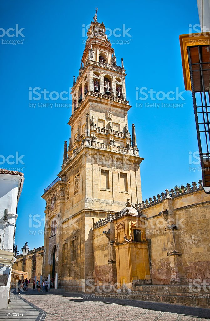 Bell tower of Mezquita (Mosque) and Cathedral , Cordoba,  Spain. royalty-free stock photo