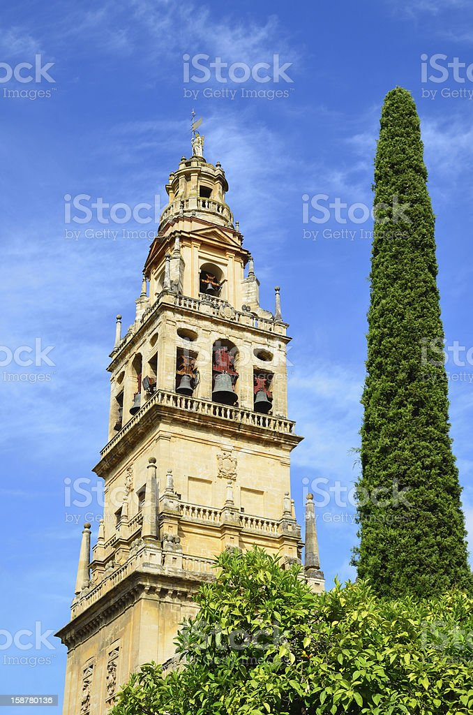 Bell tower of Mosque-Cathedral in Cordoba stock photo