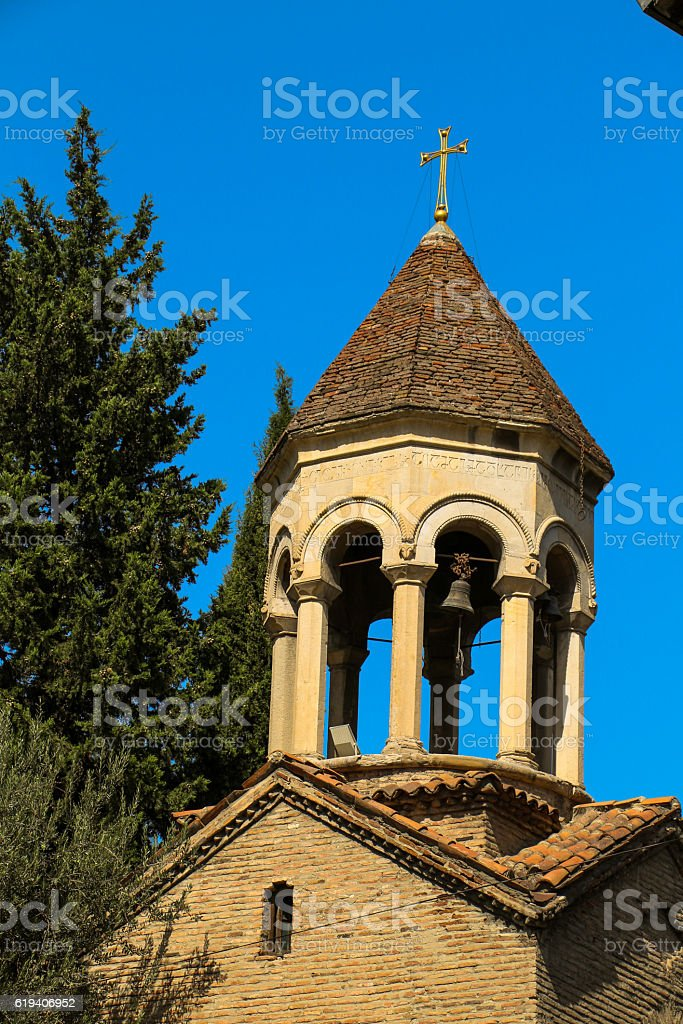 Bell tower of old church in Tbilisi, Georgia stock photo