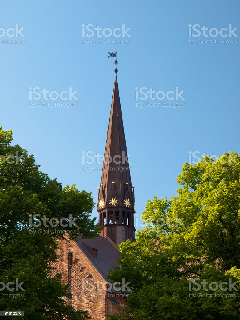Bell tower of Roskilde Cathedral, Denmark stock photo