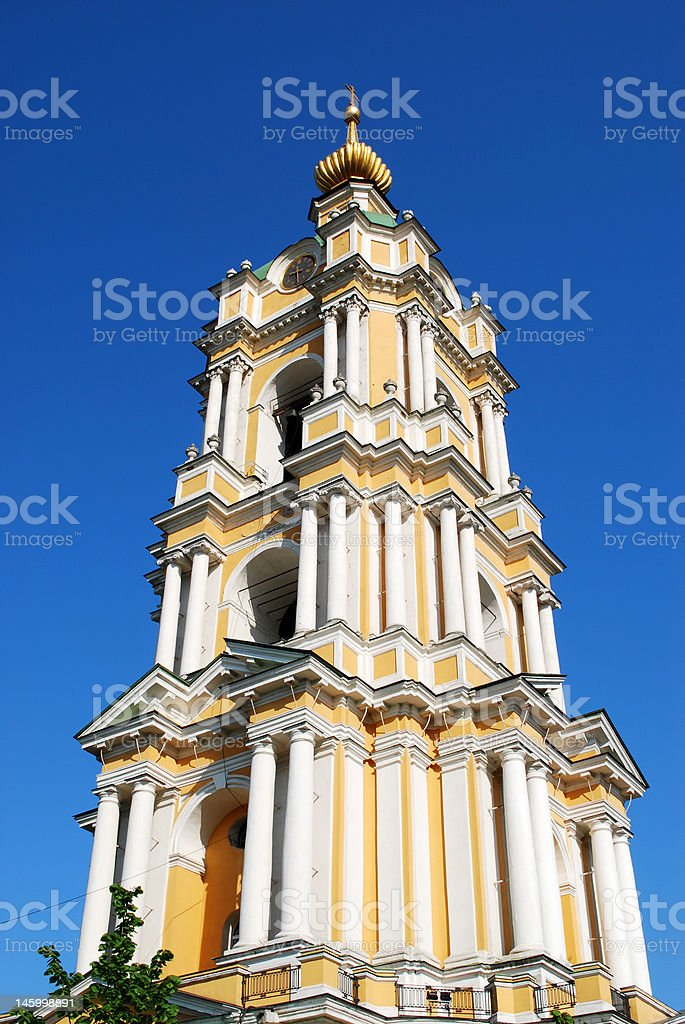 Bell tower of russian monastery stock photo