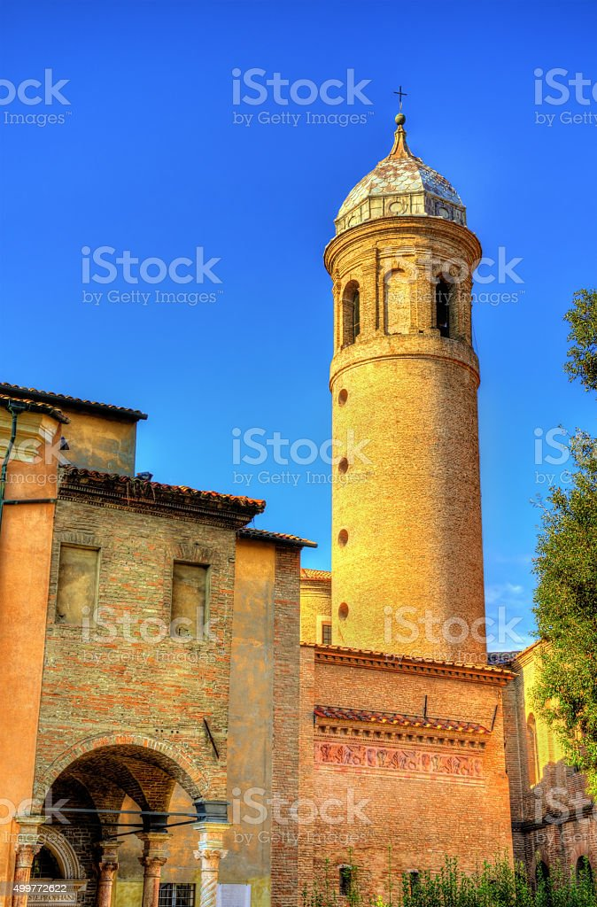 Bell tower of San Vitale Basilica - Ravenna, Italy stock photo