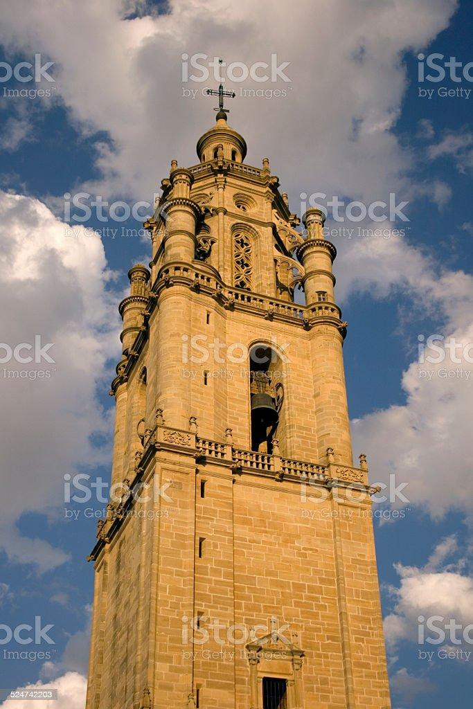 Bell tower of Santa maria church in Los arcos stock photo