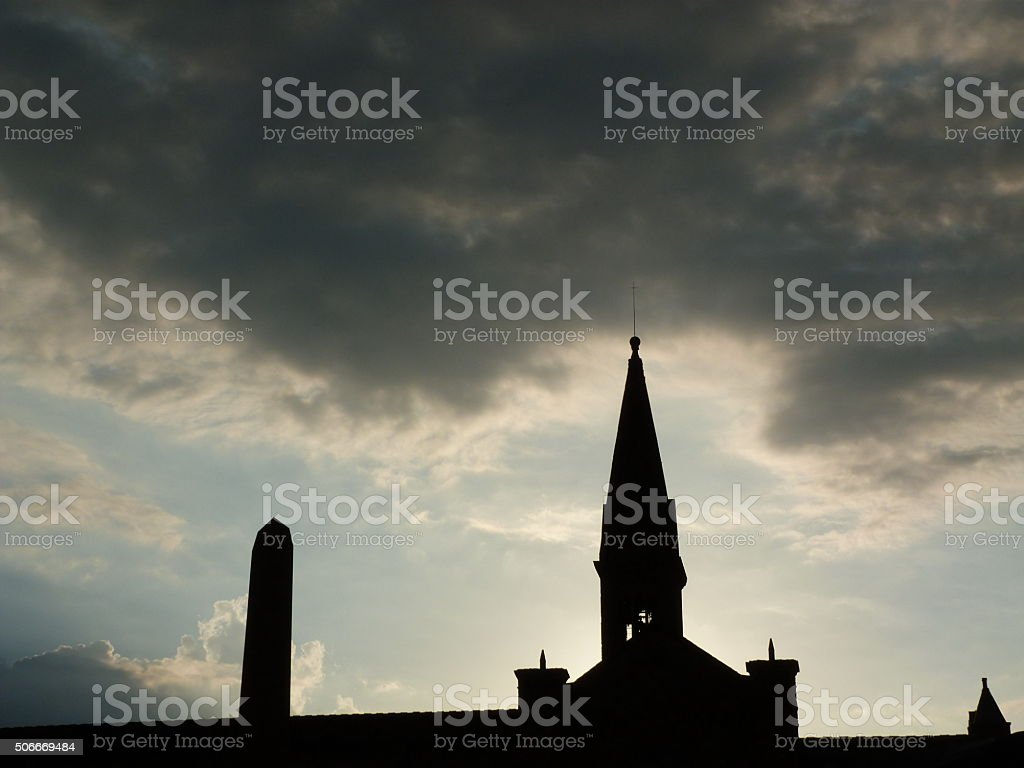 Bell tower of Santa Maria Novella at sunset, Florence stock photo