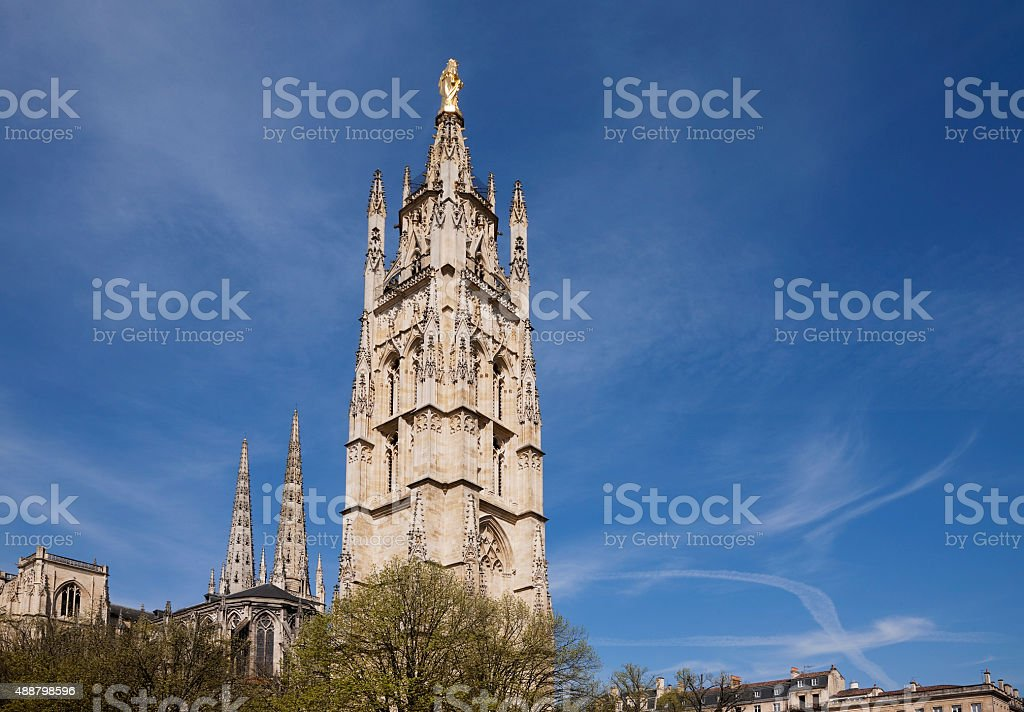 Bell tower of St. Andrew Cathedral, Bordeaux, France stock photo