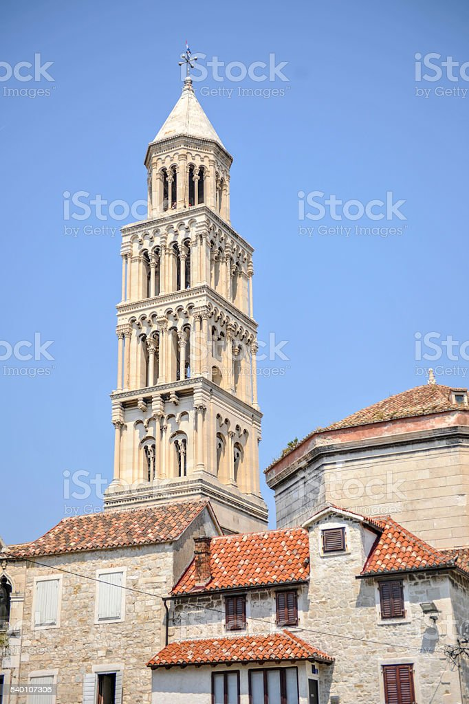 Bell tower of St. Duje cathedral, Split, Croatia. stock photo