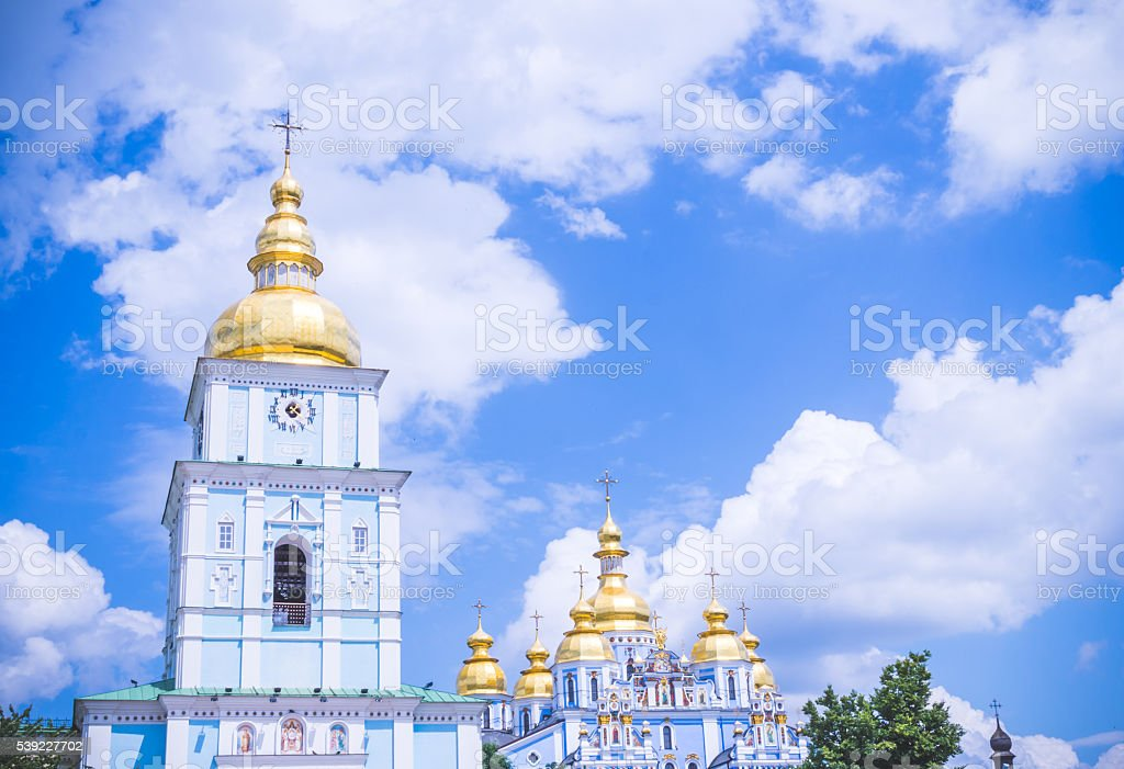 Bell tower of St. Michael's monastery in Kiev stock photo