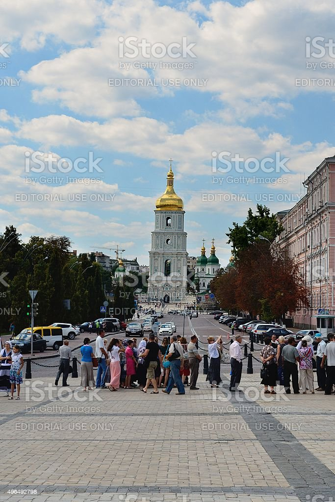 Bell tower of St. Sophia Cathedral, Kiev stock photo