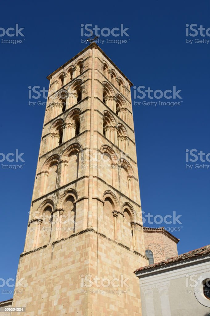 Bell tower of St. Stephen's church (12th century), Segovia. Castilla-Leon, Spain stock photo