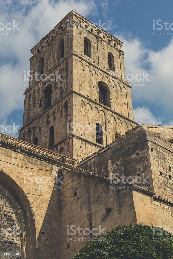 Bell Tower of St. Trophime Church stock photo