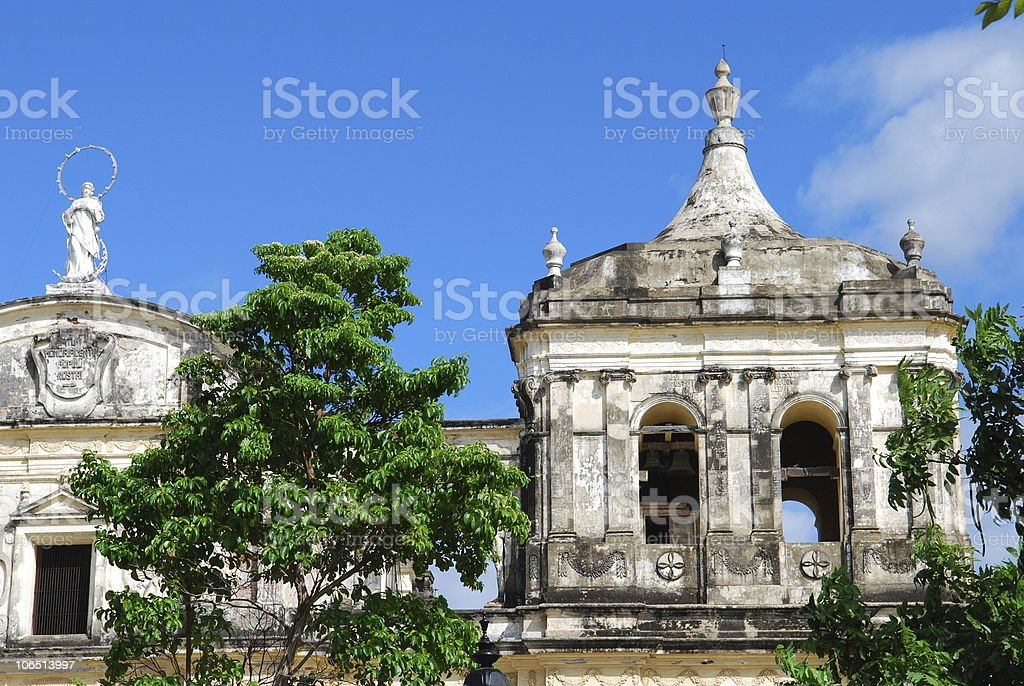 bell tower of the cathedral in Leon, Nicaragua stock photo