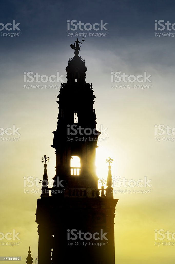 Bell tower of the church of San Pedro, Carmona, Seville. stock photo