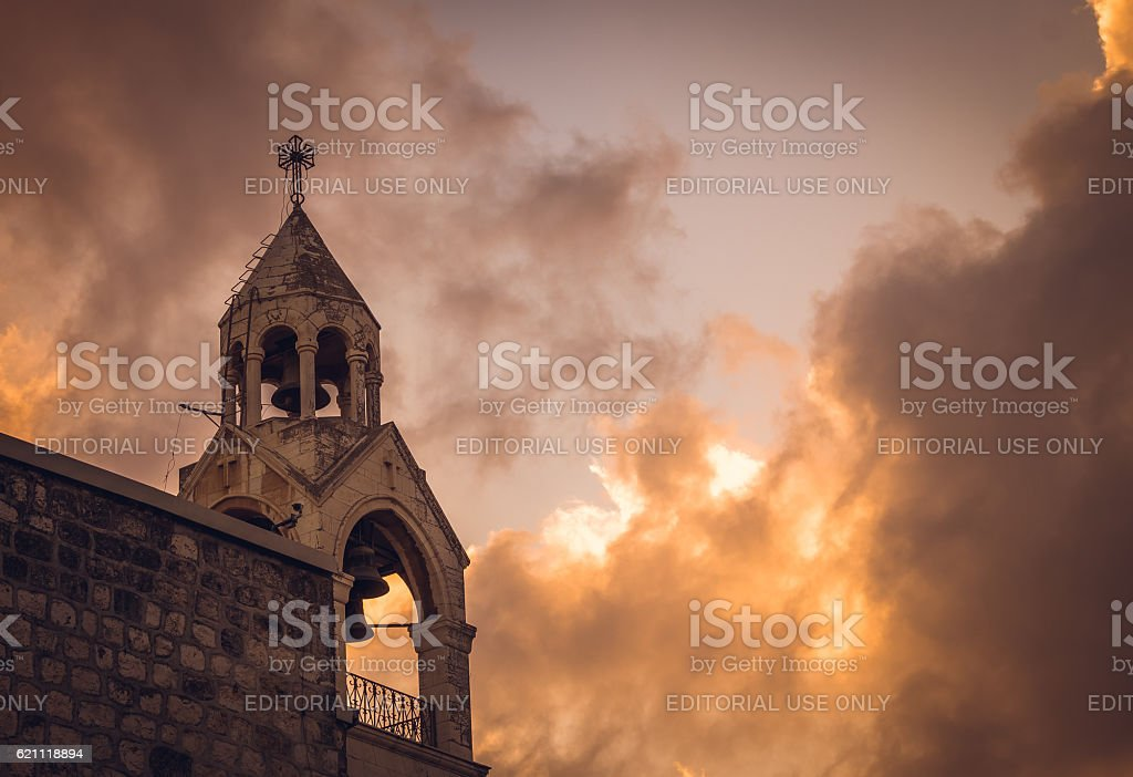 Bell Tower Of The Church Of The Nativity, Bethlehem, Palestine stock photo