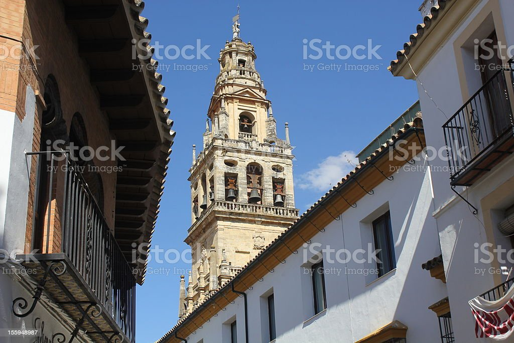 Bell tower of the mosque in Cordoba stock photo