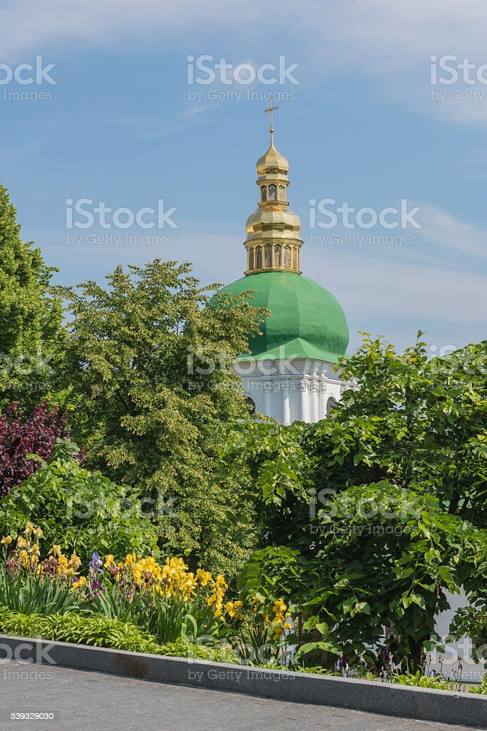 Bell tower of the near caves stock photo