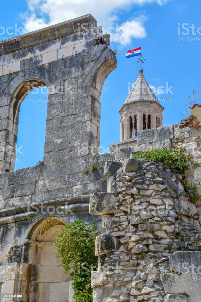 Bell tower of the Saint Domnius Cathedral in Split, Croatia stock photo