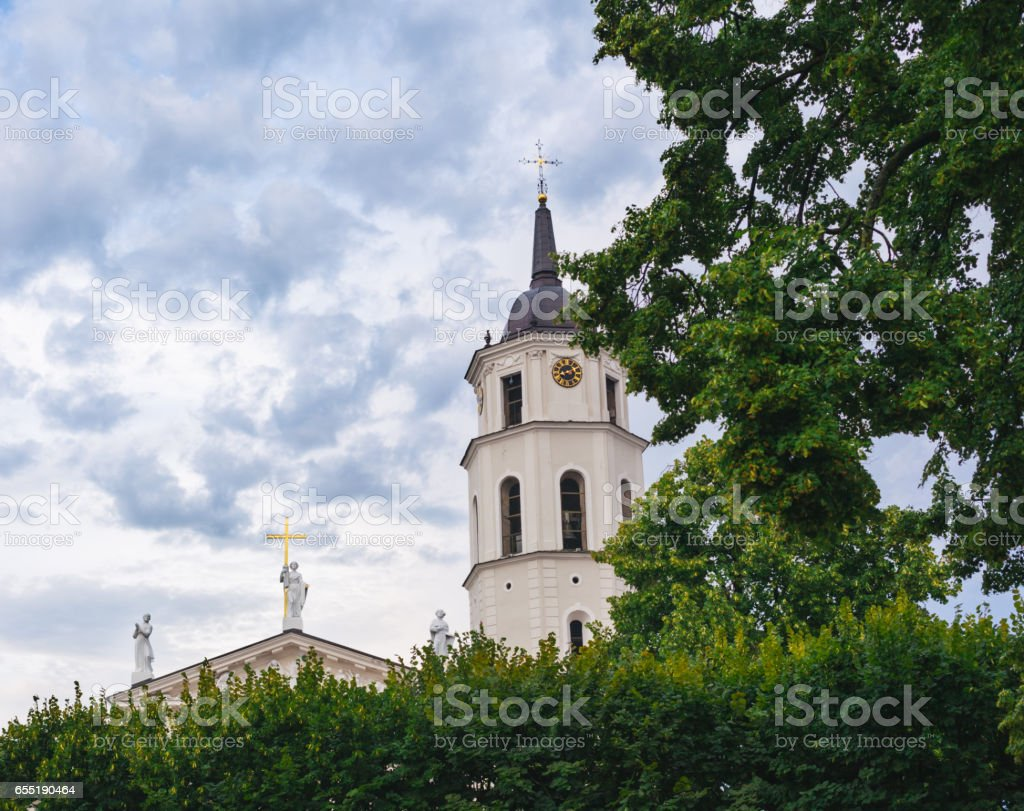 Bell tower of the Vilnius Cathedral stock photo