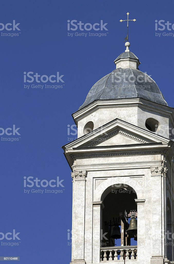 Bell tower of Trinità dei Monti in Roma royalty-free stock photo