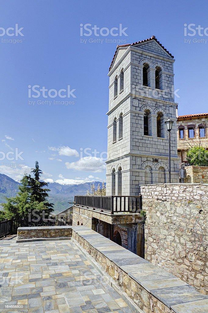 Bell tower of Varlaam monastery, Meteora, Greece royalty-free stock photo