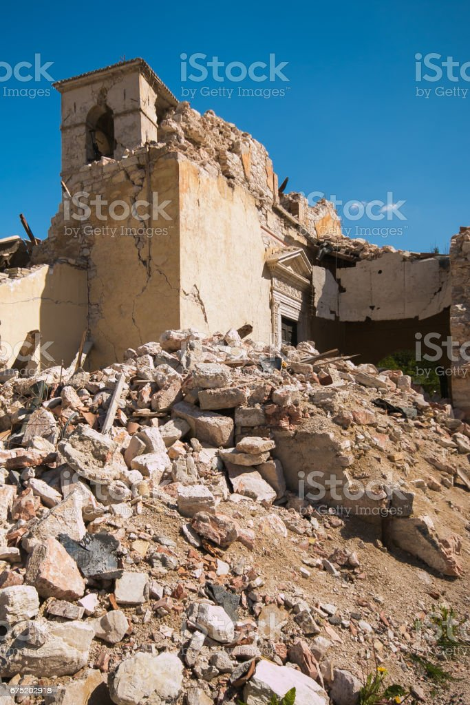 Bell tower of Visso church destroyed by terrible earthquake stock photo