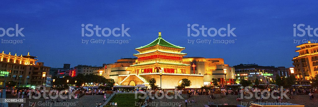 Bell Tower of Xi'an at Night stock photo