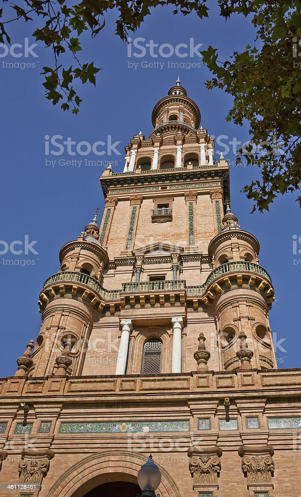 Bell Tower on Plaza de Espana in Seville, Spain royalty-free stock photo