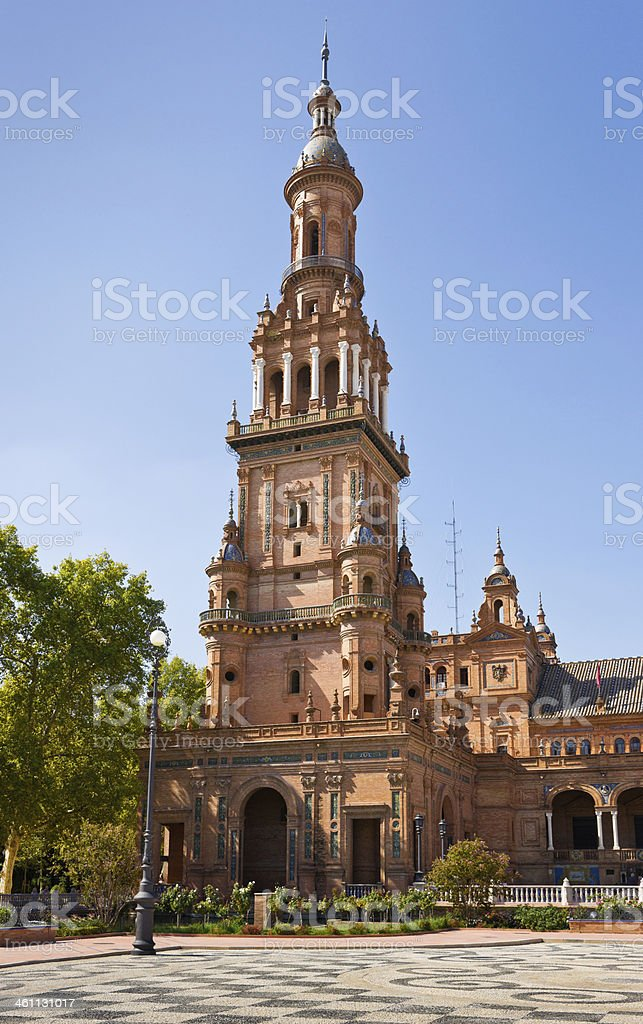 Bell Tower on Plaza de Espana in Seville, Spain stock photo