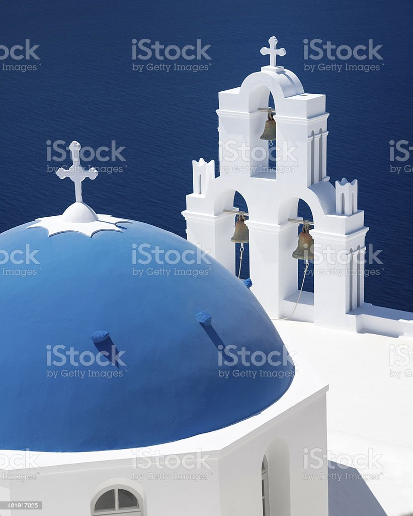 Bell tower on Santorin, Greece royalty-free stock photo