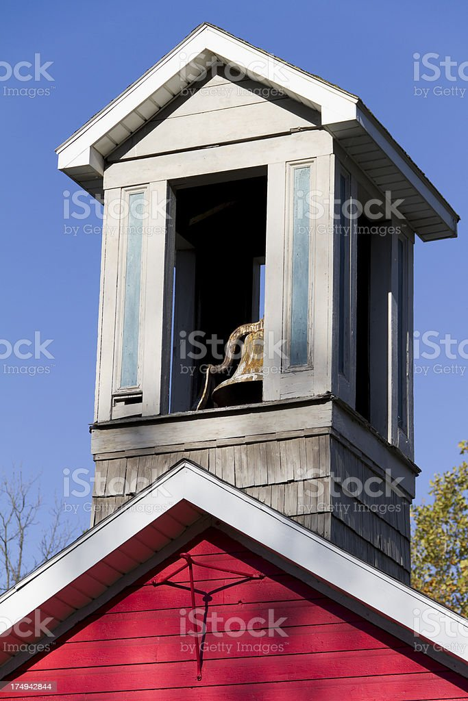 Bell Tower On Top of Little Red Schoolhouse royalty-free stock photo