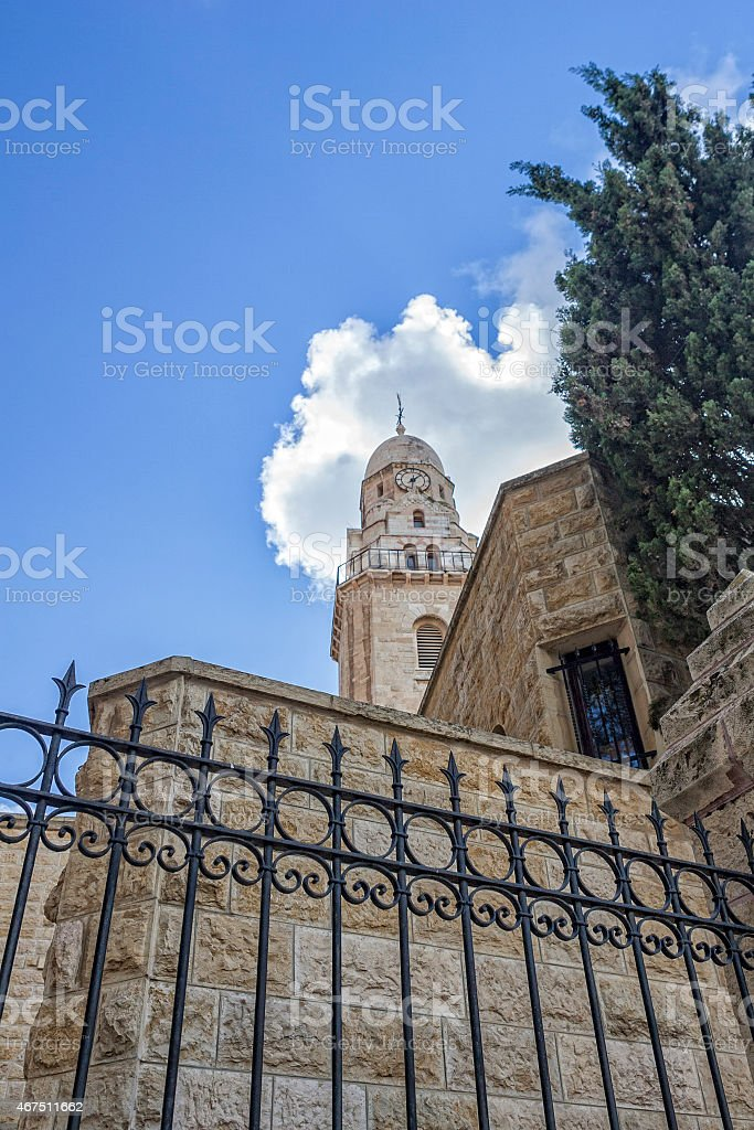 Bell Tower the Basilica Church of Dormition Old City Jerusalem stock photo