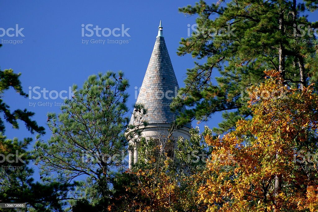 Bell Tower Through the Trees stock photo