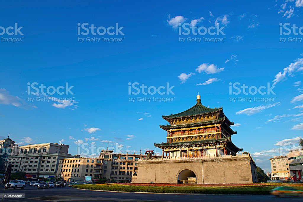 Bell Tower Xi'an China 鐘樓 西安 zhonglou 钟楼 stock photo