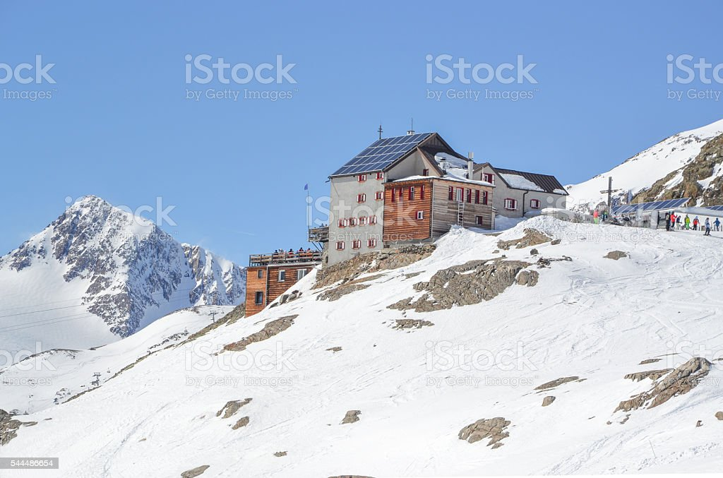 bella vista cabin snowy mountain peaks on glacier Schnalstal stock photo
