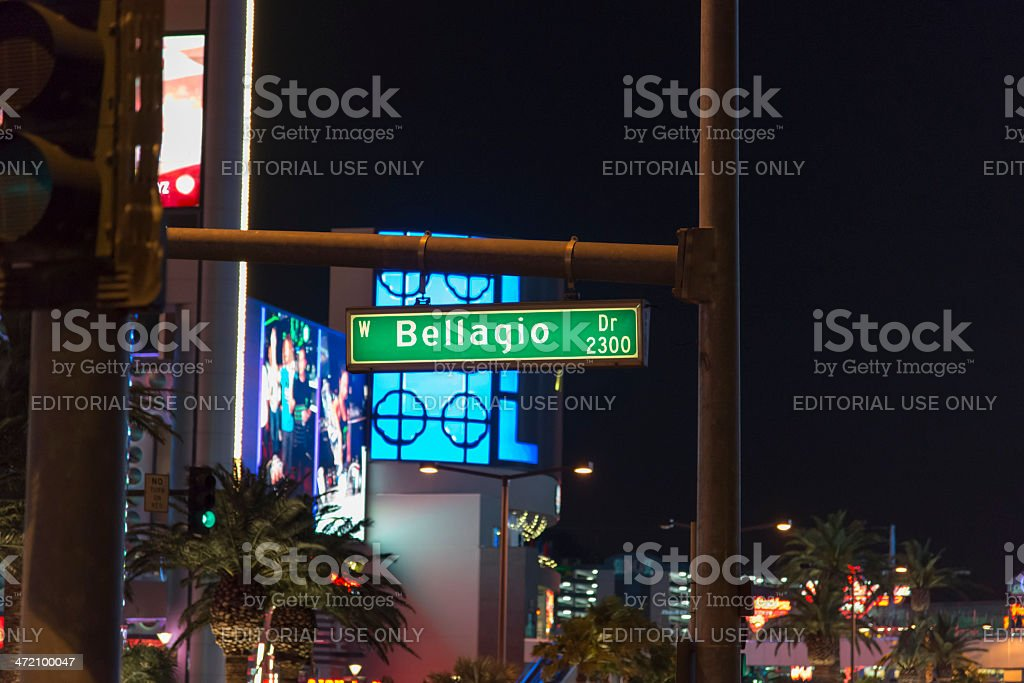 Bellagio Las Vegas street sign royalty-free stock photo