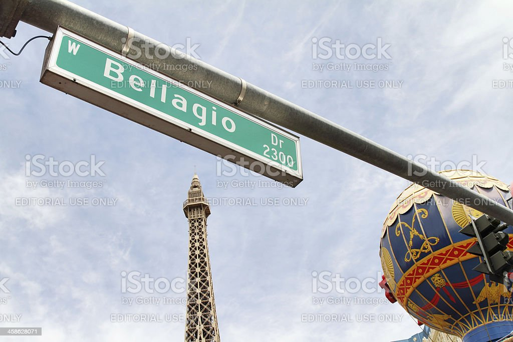 Bellagio street sign on the strip in Las Vegas royalty-free stock photo