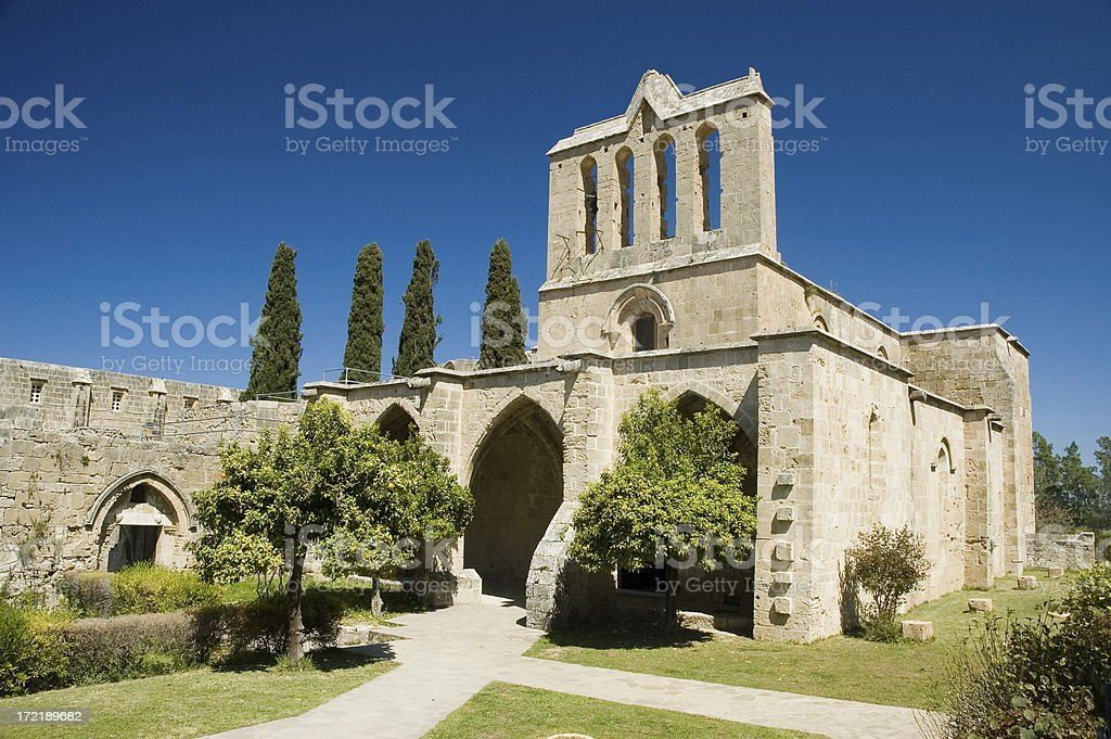 Bellapais abbey on a sunny clear day stock photo
